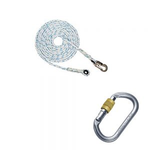 PPE ROPE LIFELINE WITH END CARABINER AND SNAP HOOK